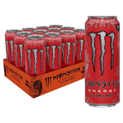 Monster Energy Ultra Red 500ml Case 12 Cans  (UK)